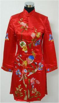 チャイナ服 孔雀刺繍・赤
